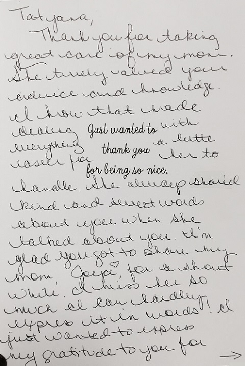 Thank you card (inside) - Cindy Callahan
