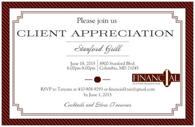 Financial 1 Tax and Wealth Management Group - invitation
