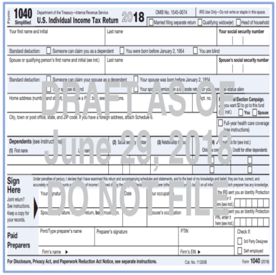 The Draft 1040 Adjusted For The Tax Law Changes Financial 1 Tax