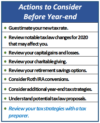 Actions to Consider Before Year-end, Financial 1 Tax